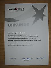 Humboldt-Gymnasium; Berliner Jugend forscht-Bildungsstätte des Jahres 2019